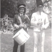The author with the band director in Martin Park